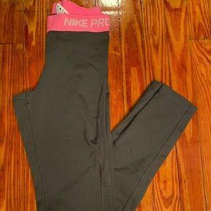 Gray and Pink Nike Pro leggings- DriFit